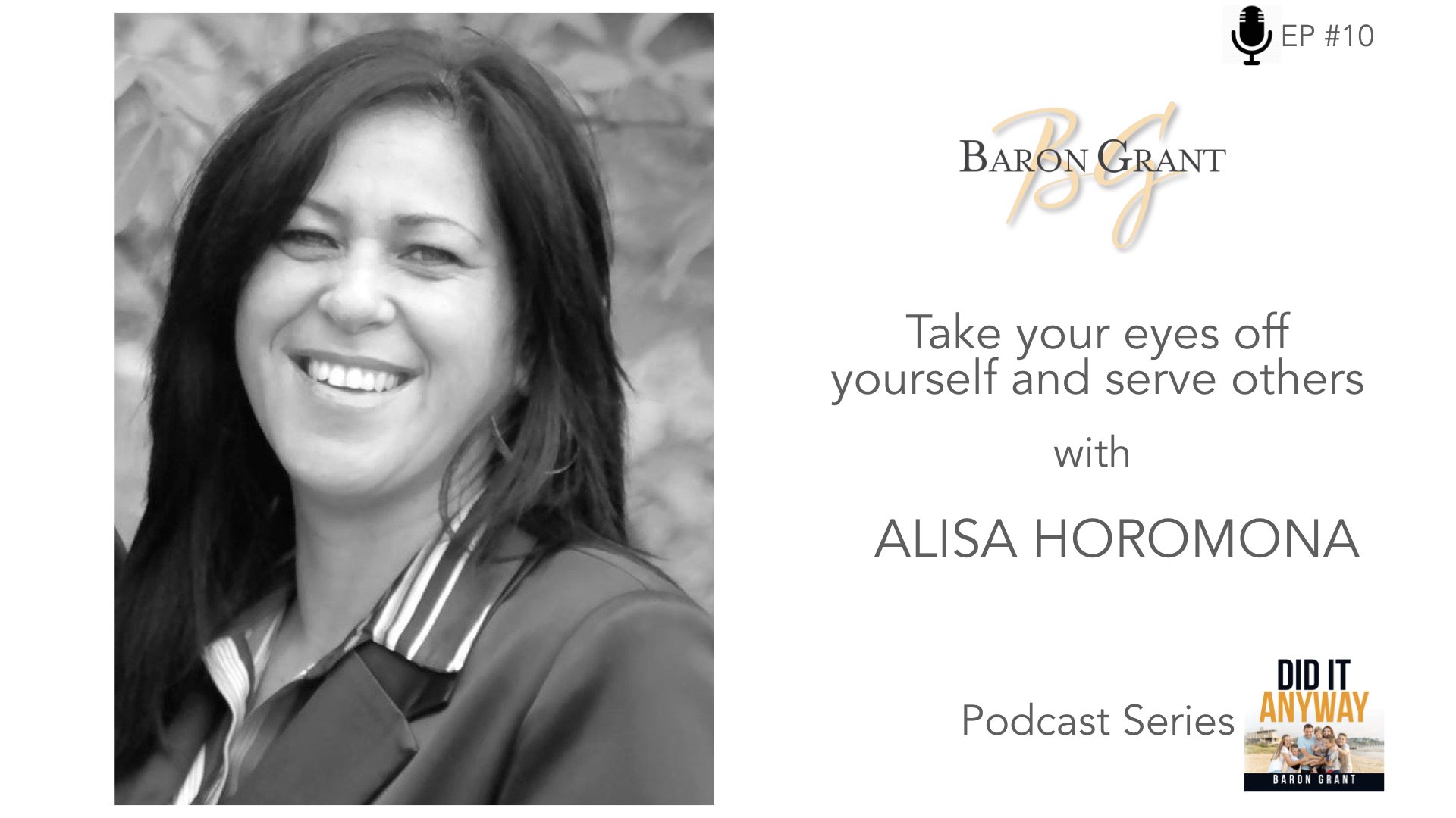 - Wow! What an amazing woman! In this episode of my podcast, DID IT ANYWAY, I had the privilege of interviewing Alisa Horomona. Alisa shares her story of love, humility and faith as she deals with the fear of any parent - the loss of her beautiful son, Breyton. I learnt so much from her on how to deal with tragedy. Alisa holds no bitterness or anger. Instead, she exhibits a greater degree of love and care for people around her. Please join me in listening to her inspirational story! What an amazing example of how to still see beauty in the midst of horrible times.