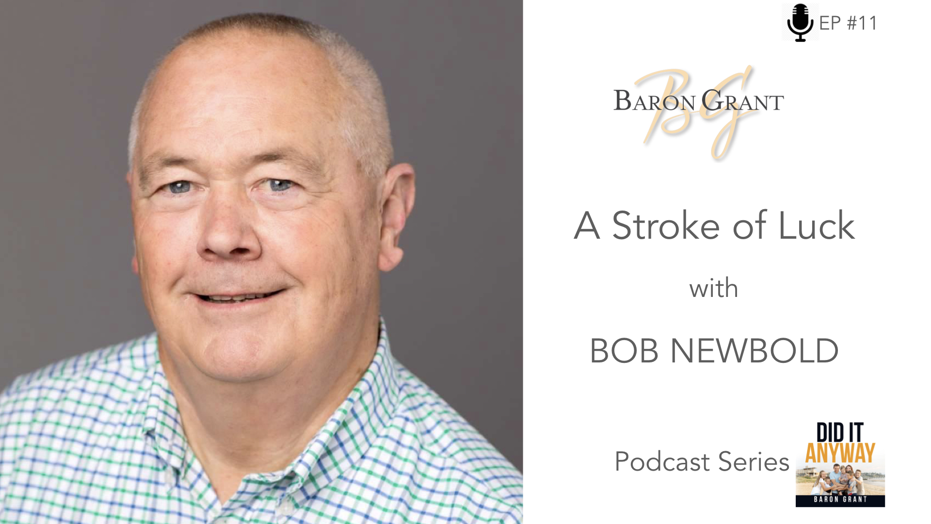 - We can't always choose what happens to us in our lives. Sometimes challenges are thrust upon us. How we choose to deal with those challenges is a totally different story. My guest on this podcast, Bob Newbold, is an amazing example of someone who found the good in the challenge that he faced. Not only did he simply find the good - he went and did something good with it, giving back to people around him. Join me as Bob shares his amazing story