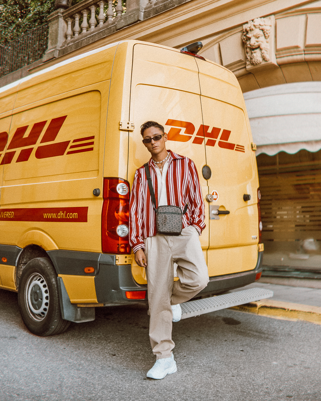 ◎ Found this DHL truck parked outside Fashion week