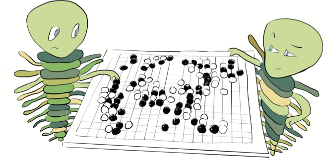 Sample Illustration: Trilobite Mascots playing the board game Go