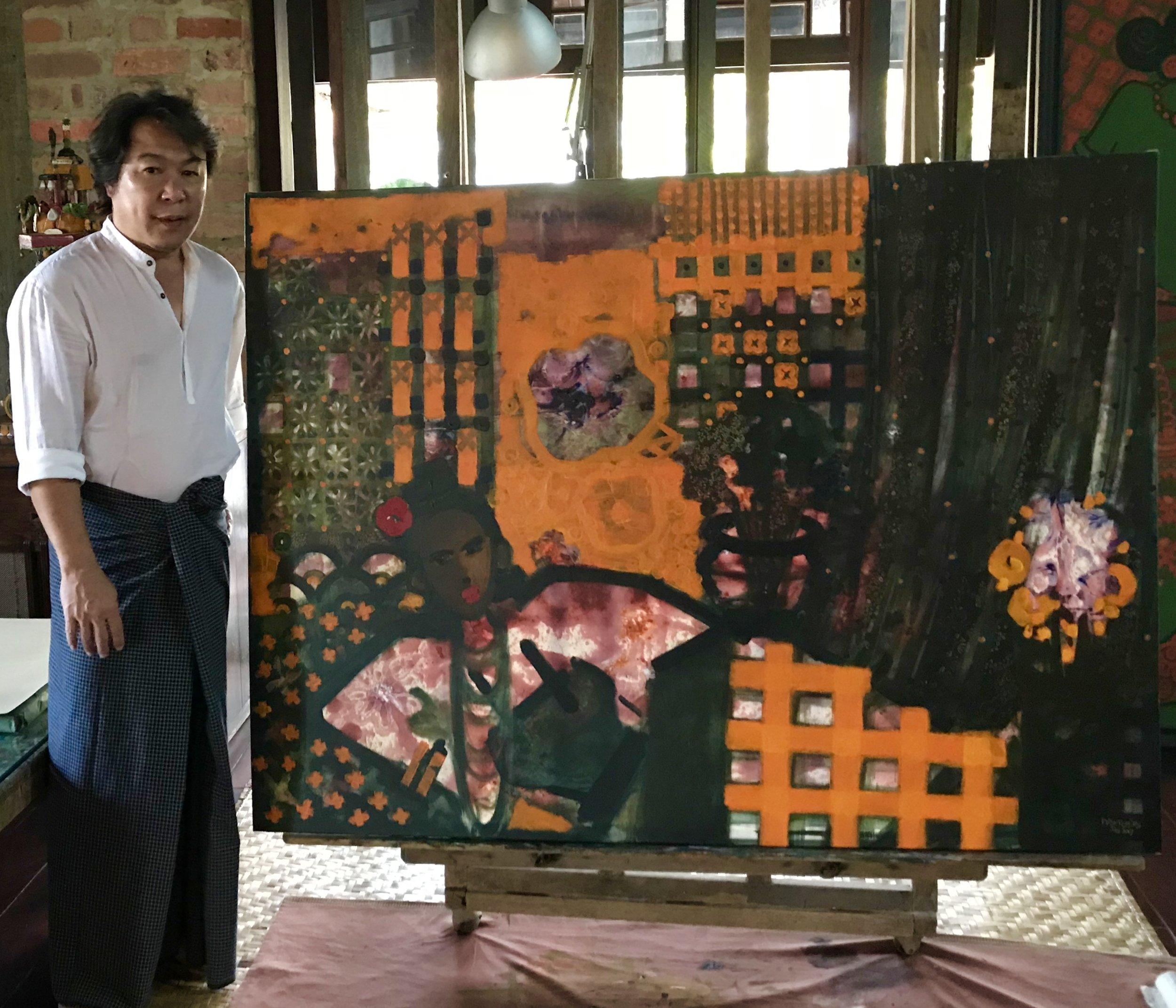 Nay Myo Say - in his studio