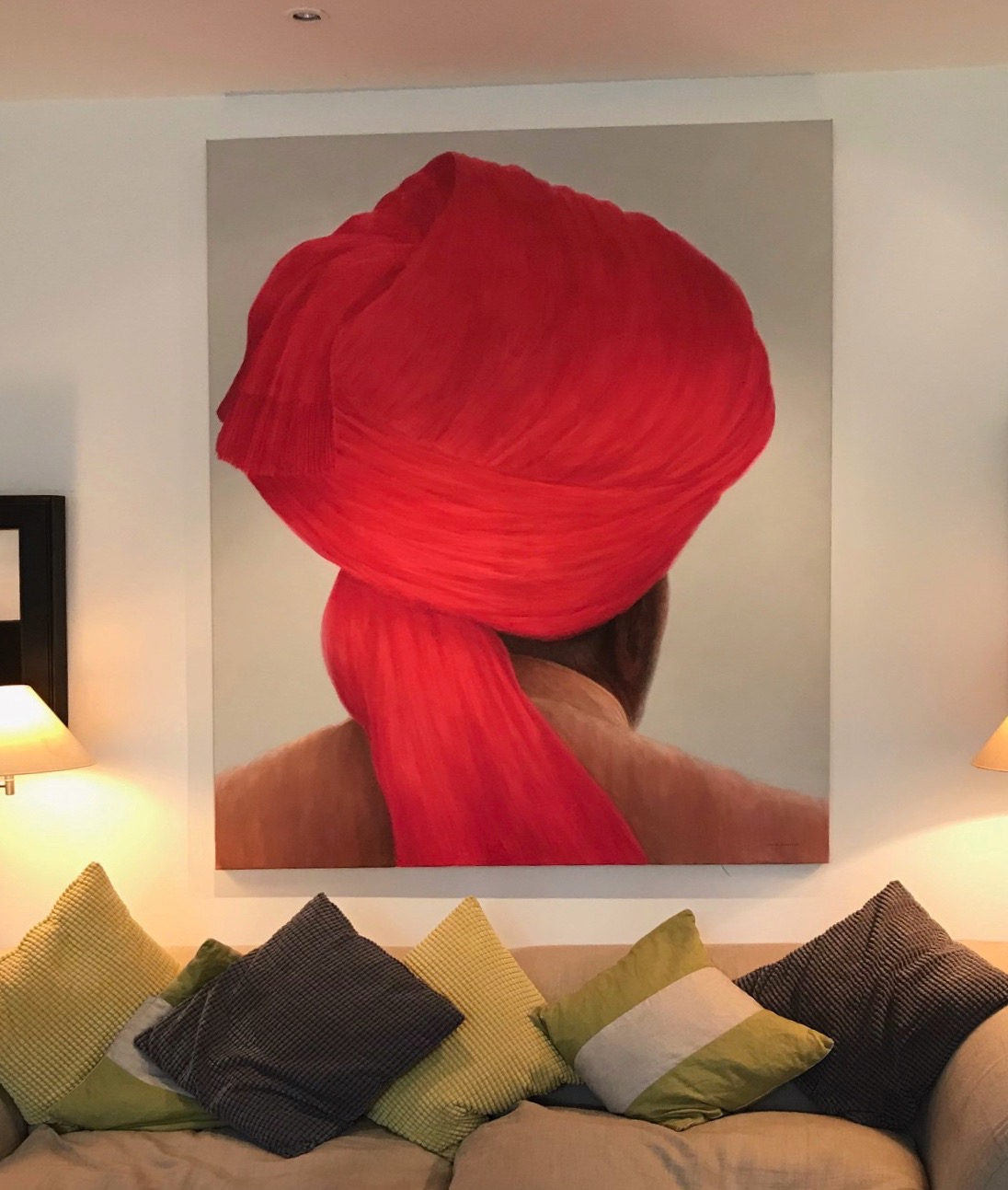 "Big Red Turban , tobacco jacket 6' x 4' 6""  £15,000"