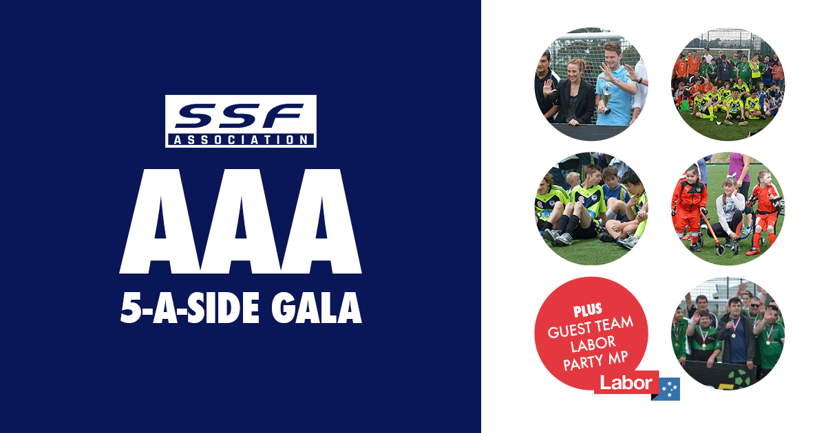 SUNDAY 21st April 2018  Well done to all players & teams at  Small Sided FA AAA 5-a-side Gala today!  We're very proud to be hosting such an event which brings together the All Abilities community.  It wouldn't be possible however without major contribution from Carlos Juan Loyola from  Doveton Special Soccer School who provides lots of support in the background as well as contributing Medals for Player of the Day. Thank you Carlos 👍🏻  Also thank you to the teams who came to support the event, including  Berwick City FC , Mount Martha Soccer Club , DOC Football Academy ! Your coaches are awesome, players are incredible and your supporters are fantastic!  A special thank you to our guest team  Australian Labor Party who were Captained by  Gabrielle Williams MP & had a star studded line up of MP from around Melbourne. A massive thank you!  We also had special guest Matt Windley, Project Officer  We are Team11 assist in presenting Trophies and Certificates as well as letting everyone know about the South East bid for an  Hyundai A-League Team!  Group Results  Kangaroos / bit.ly/2vwN121   Wallabies / bit.ly/2qRqqa3   Joeys / bit.ly/2qMPhgv