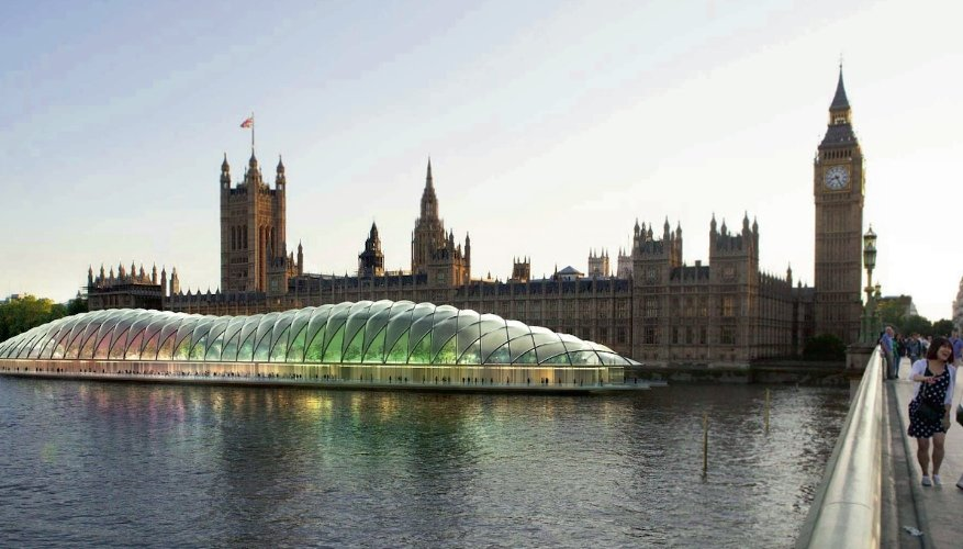 Gensler's render of the temporary Houses of Parliament on the River Thames