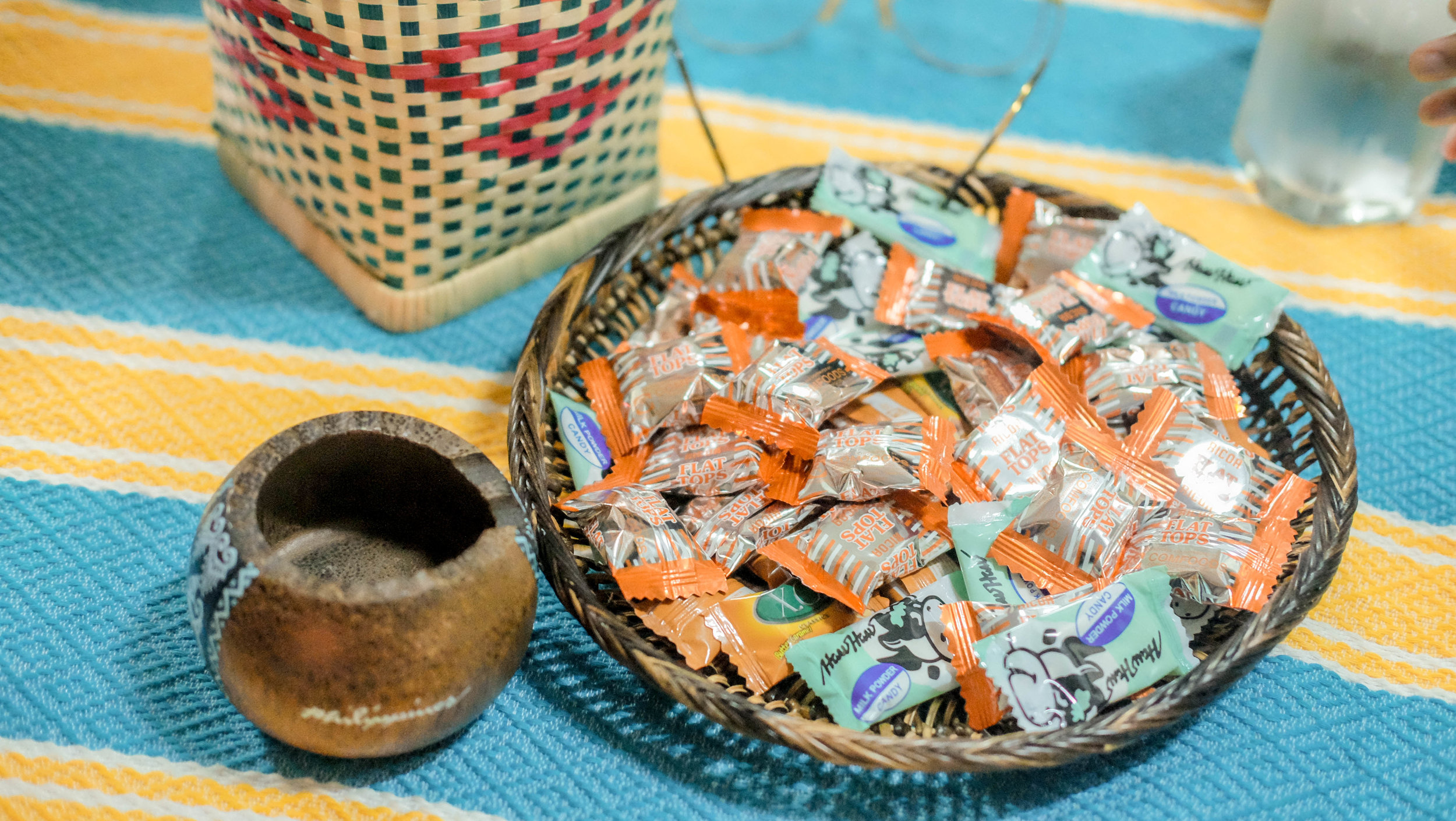 RJ Tries To Style - Low-budget so I had to be resourceful. I got blankets and woven baskets to style the tables. Put in some candies too!!