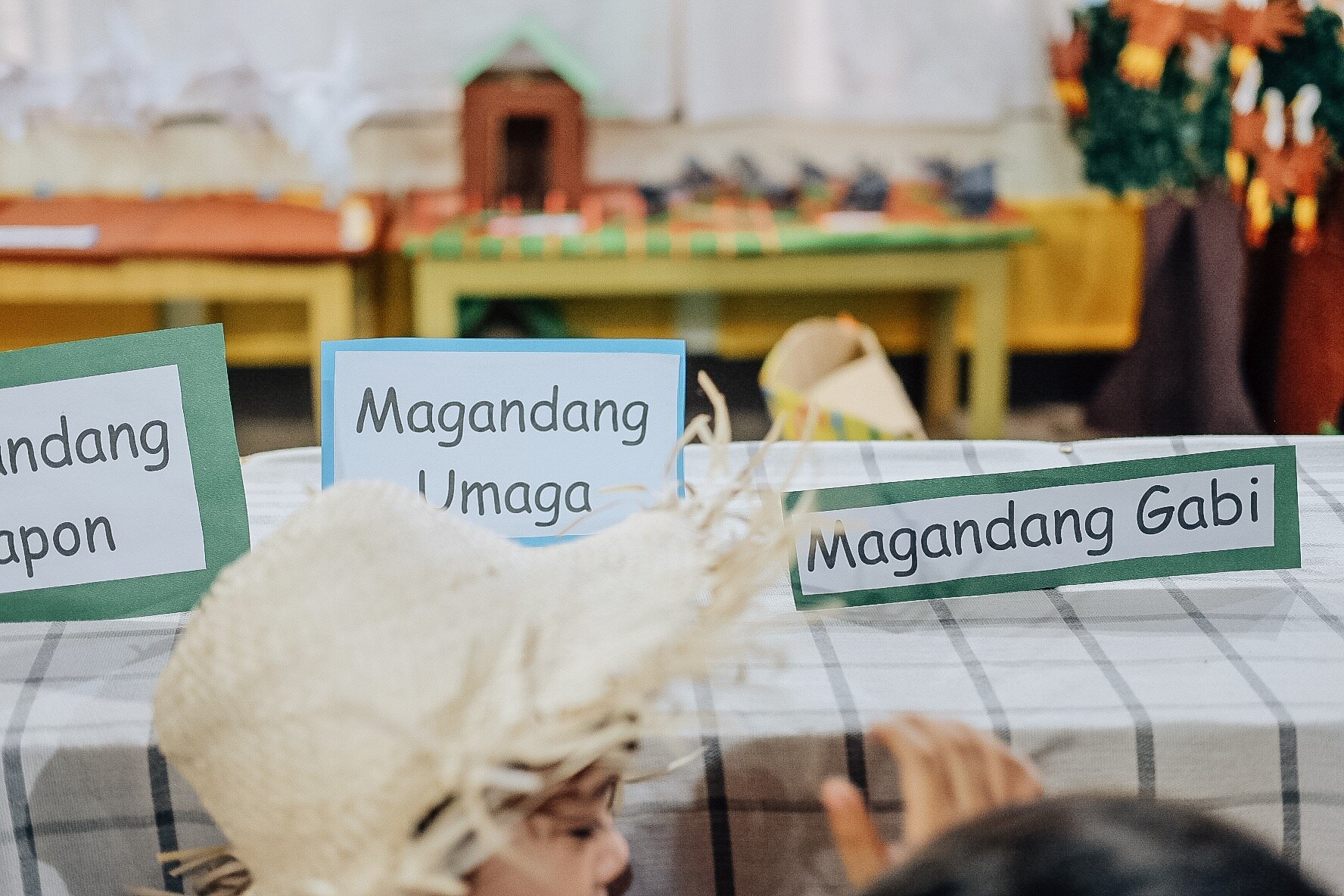 label stuff with filipino words or phrases in the house - You can create flash cards, or even note cards where when your child sees it, he can associate concepts and objects with the Filipino words you want him to learn.