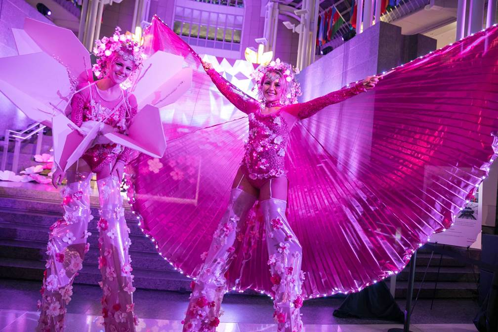 The stilt walkers in their custom outfits were a HIT! Thank you to Neekola for her patience and her enthusiasm as we made our vision come to life.Thanks so much for being a part of the event! - Lillian Iversen, National Cherry Blossom Festival Pink Tie Fundraiser