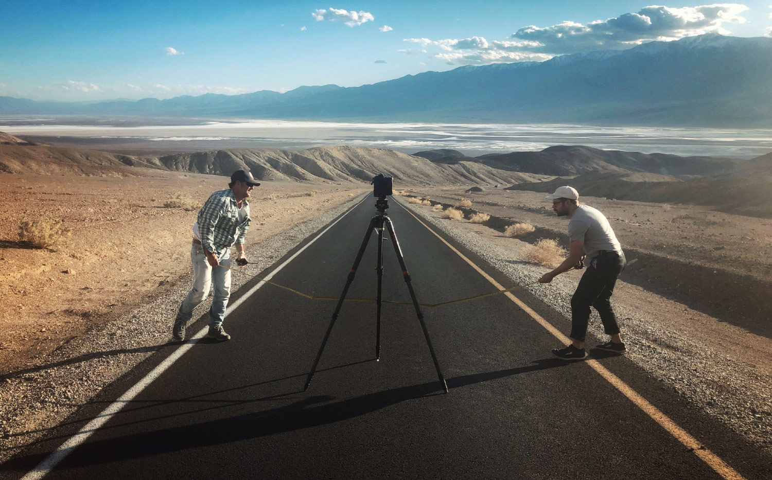 Tim and Caleb executing precision tripod placement in Death Valley.