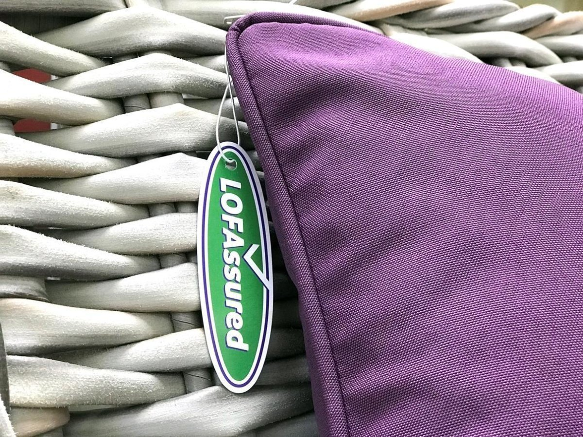 "LOFA's (Leisure and Outdoor Furniture Association) ""LOFAssured"" initiative ensures that all cushions sold by members comply with current government fire safety regulations."