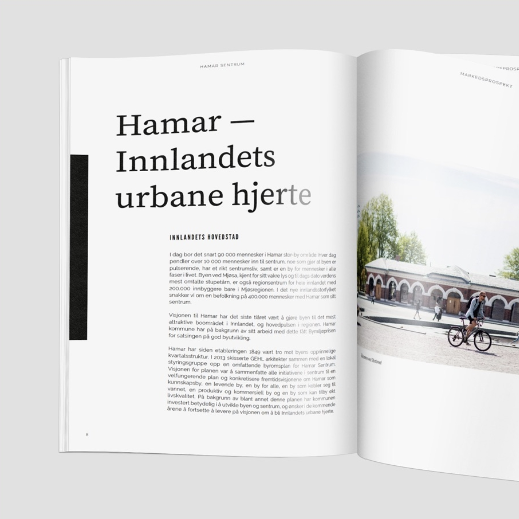 MARKET PROSPECT HAMAR   A holistic communication tool for the city of Hamar to explain the city's values to an external market. Functions also as a base tool for recruitment to fill the empty store fronts in the city.  Advisory — Einar Kleppe Holthe  hamarsentrum.no