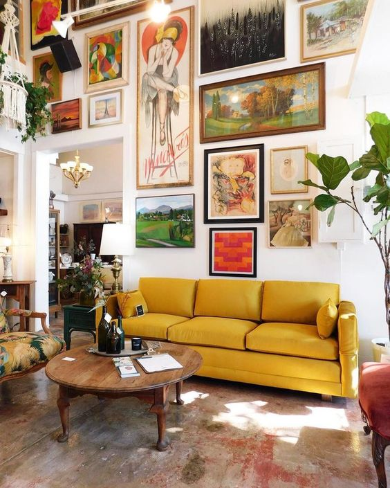 A comfortable, but  beautiful space  that puts all the focus on a well curated art collection.