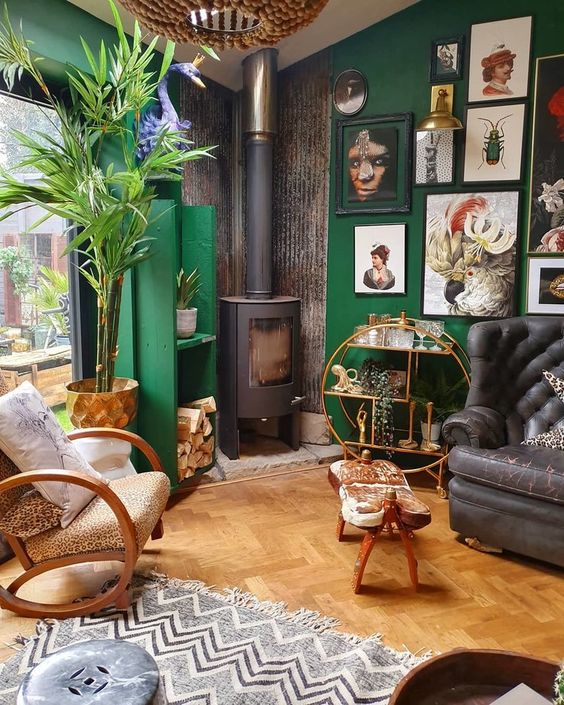 A maximalist space that is very carefully laid out, presents a casual vibe but highlights a very well thought out  collection .