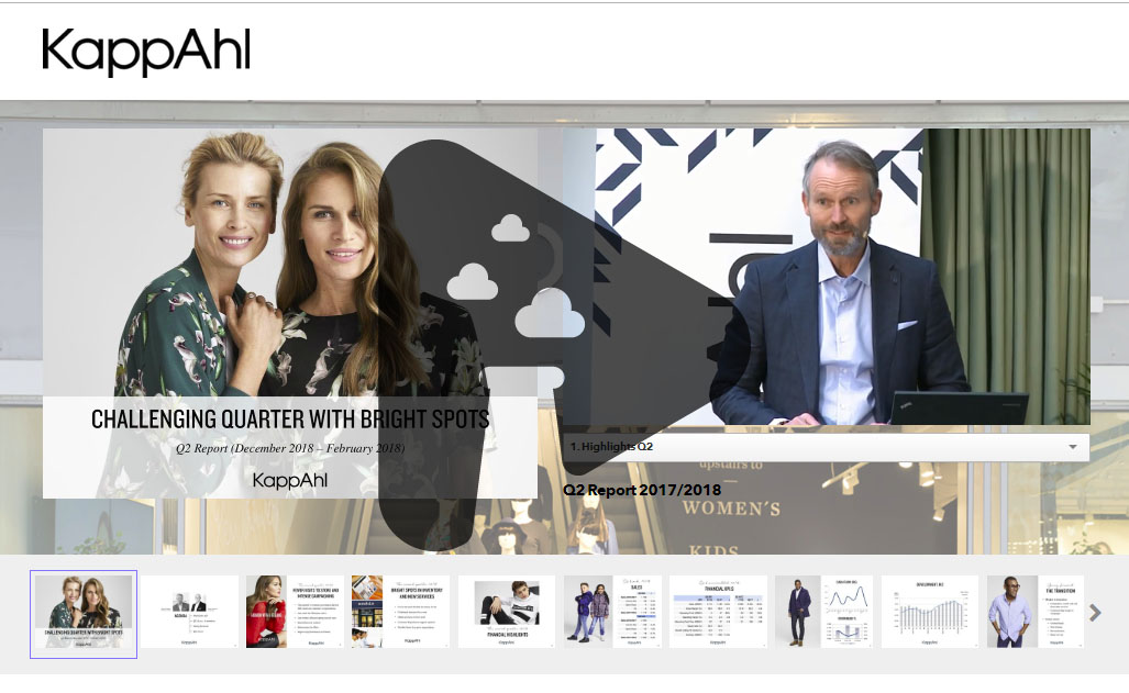 Example of KappAhl AB quarterly report, 1 camera production