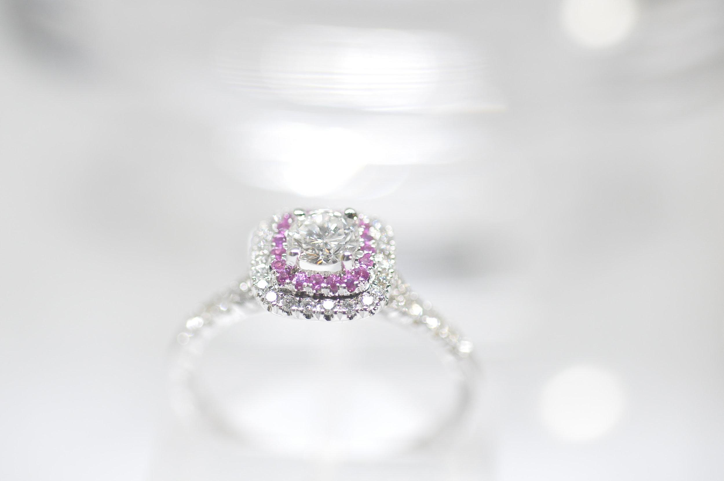 Pink Sapphire Halo Diamond Engagement Ring Toronto.JPG