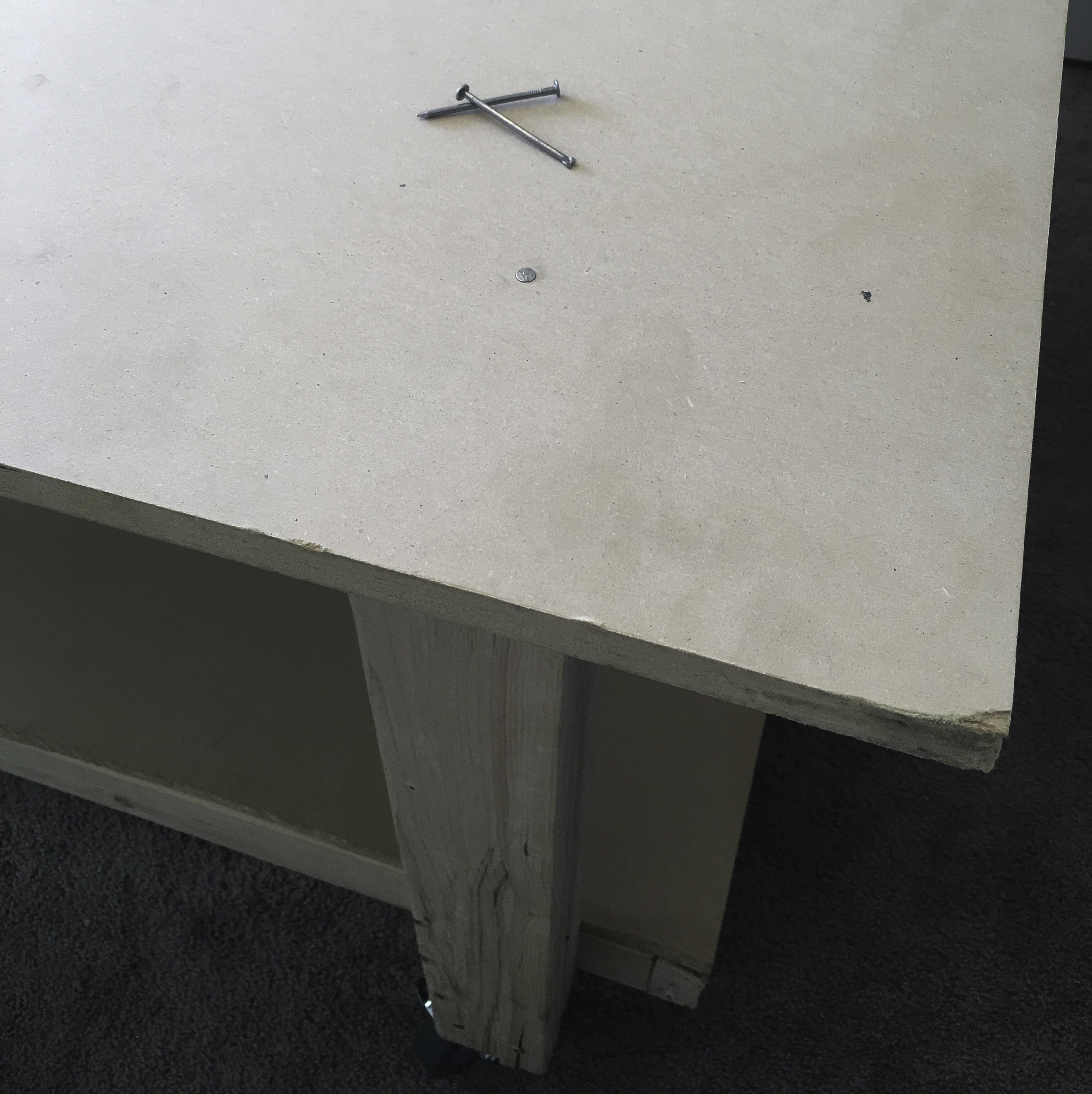 Be sure to nail your MDF board to your table base. Screwing it will cause it to crack and split.
