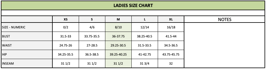 How To Make A Size Chart For Clothing Points Of Measure