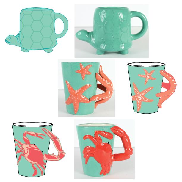 Turtle, Starfish, & Crab Mugs