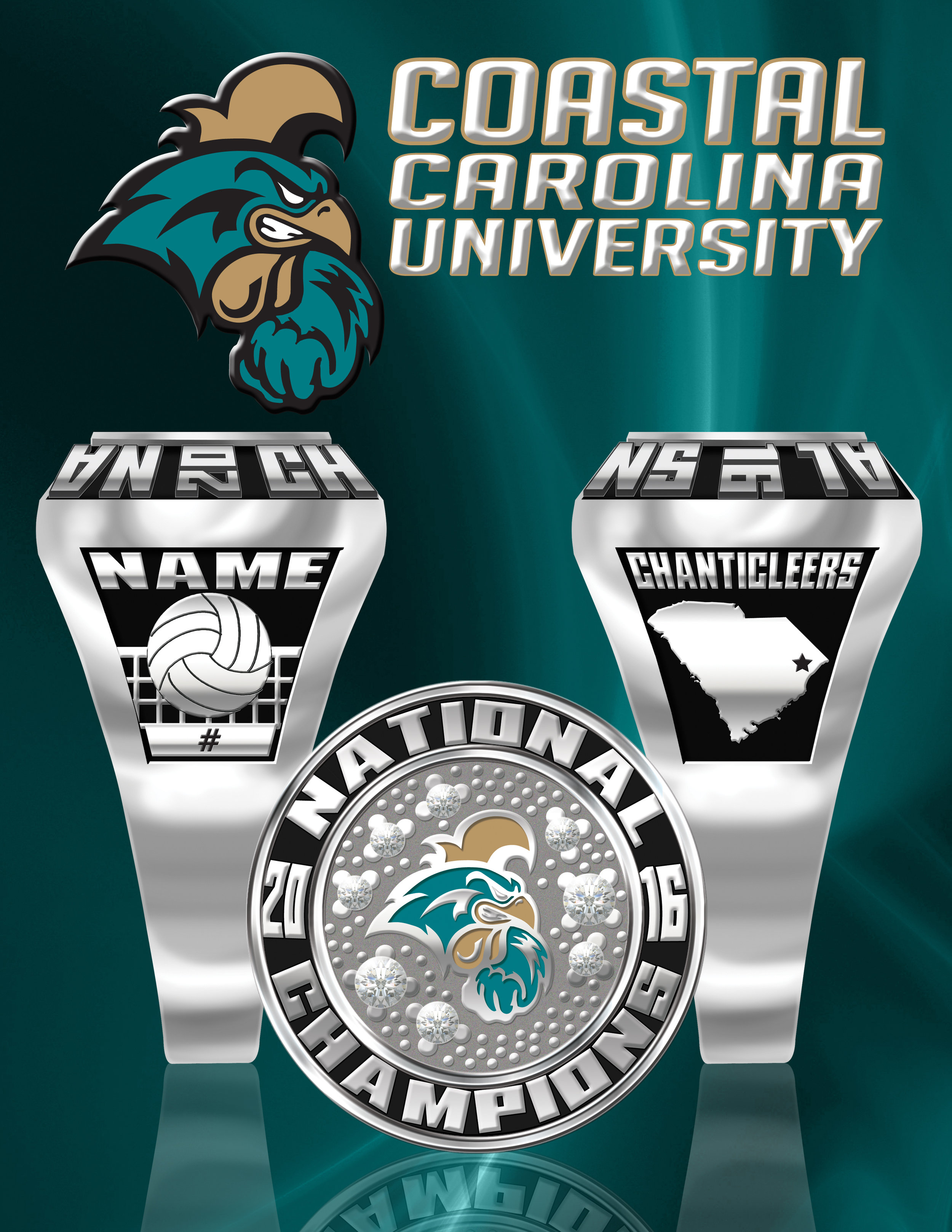 Coastal Carolina University Volleyball Champ Ring