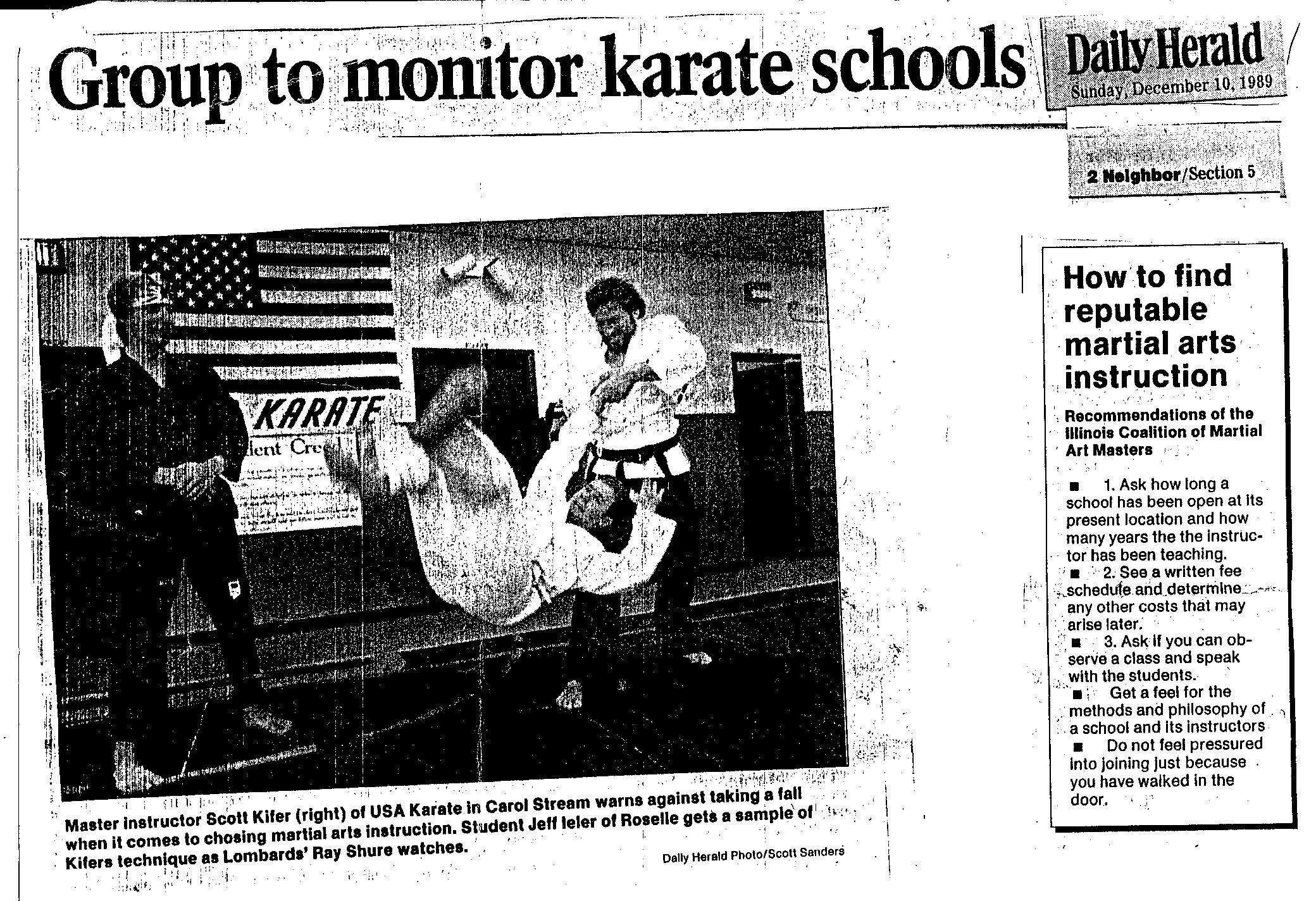 Chicago Daily Herald Group to monitor karate schools.jpg
