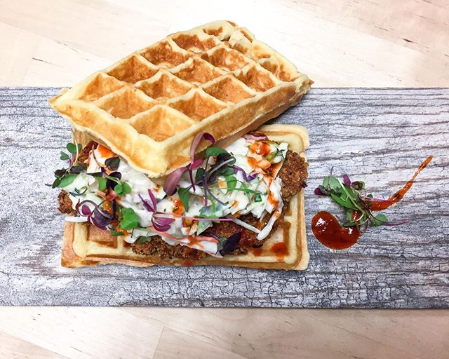 Pittsburgh's @thecooppgh brings together our favorite sweet and savory flavors in one mouthwatering dish: Belgian waffles topped with wonderfully crispy fried chicken. Each bite is crunchy, fluffy perfection. Take that, brown bag lunch!