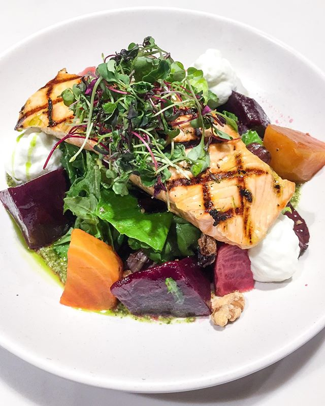 As if our beet salad didn't have enough good nutrients going for it —iron, folate, magnesium, B12 to name drop a few — add in some grilled salmon and you get a great source of omega-3s too.