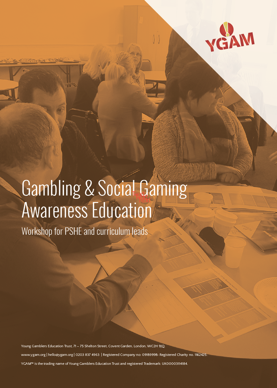 In Partnership with the Education Authority and YGAM (London) we are delivering four days of training the trainers for youth workers and other professionals supporting young people who are dealing with gambling related issues.  These events are now on eventbrite for registration, but hurry as places are limited.