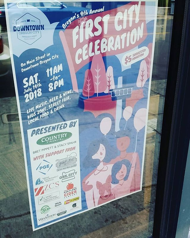 First City Celebration posters are here! Need one for your window? Let us know or  pick one up today! . . . #oregoncity #downtownoregoncity #firstcitycelebration #poster