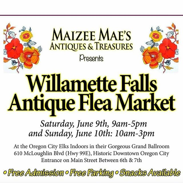 Happening this weekend on Main Street! #oregoncity #downtownoregoncity #antique #willamettefalls @maizeemaesantiques