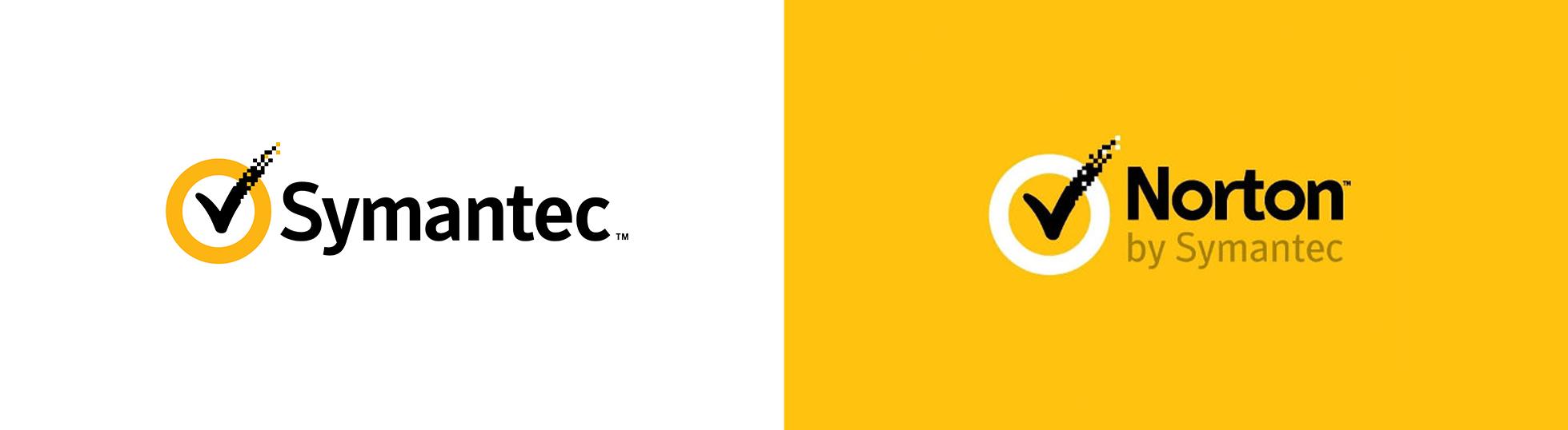 Symantec Brand & Acquisition Logo and Norton by Symantec logo.