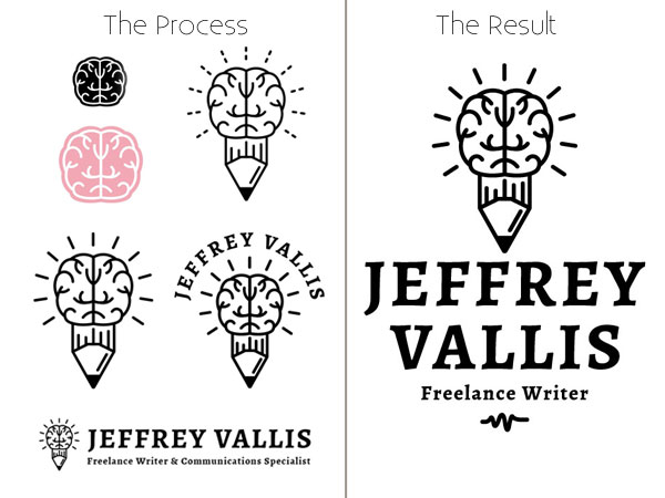 The different versions of the logo by Charles Honig throughout the design process.