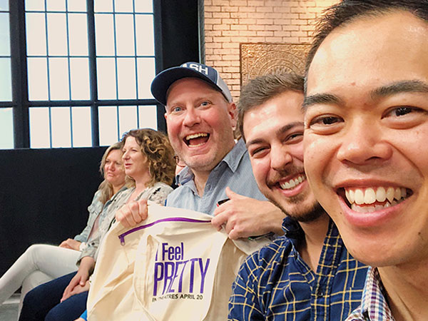 From left: Kaj (with his prize for most enthusiastic audience member), me, and Wally in the audience at a live taping of  The Socia l.