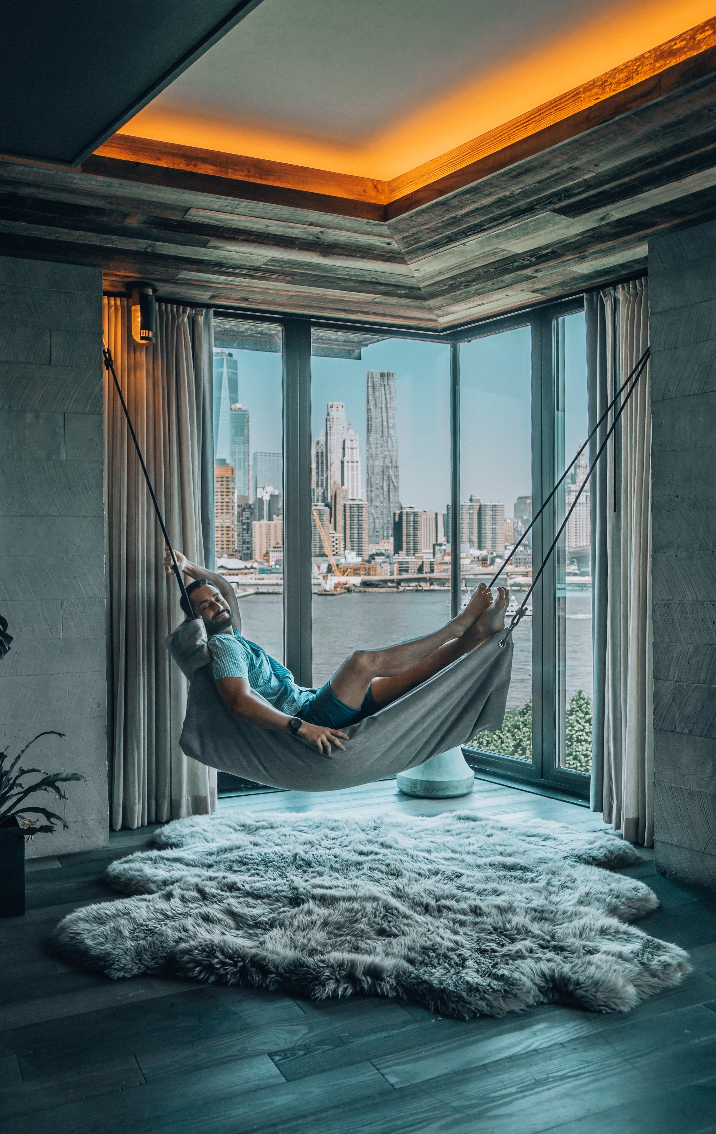 One of the cozy corners of the impressive Residence at 1 Hotel Brooklyn Bridge.