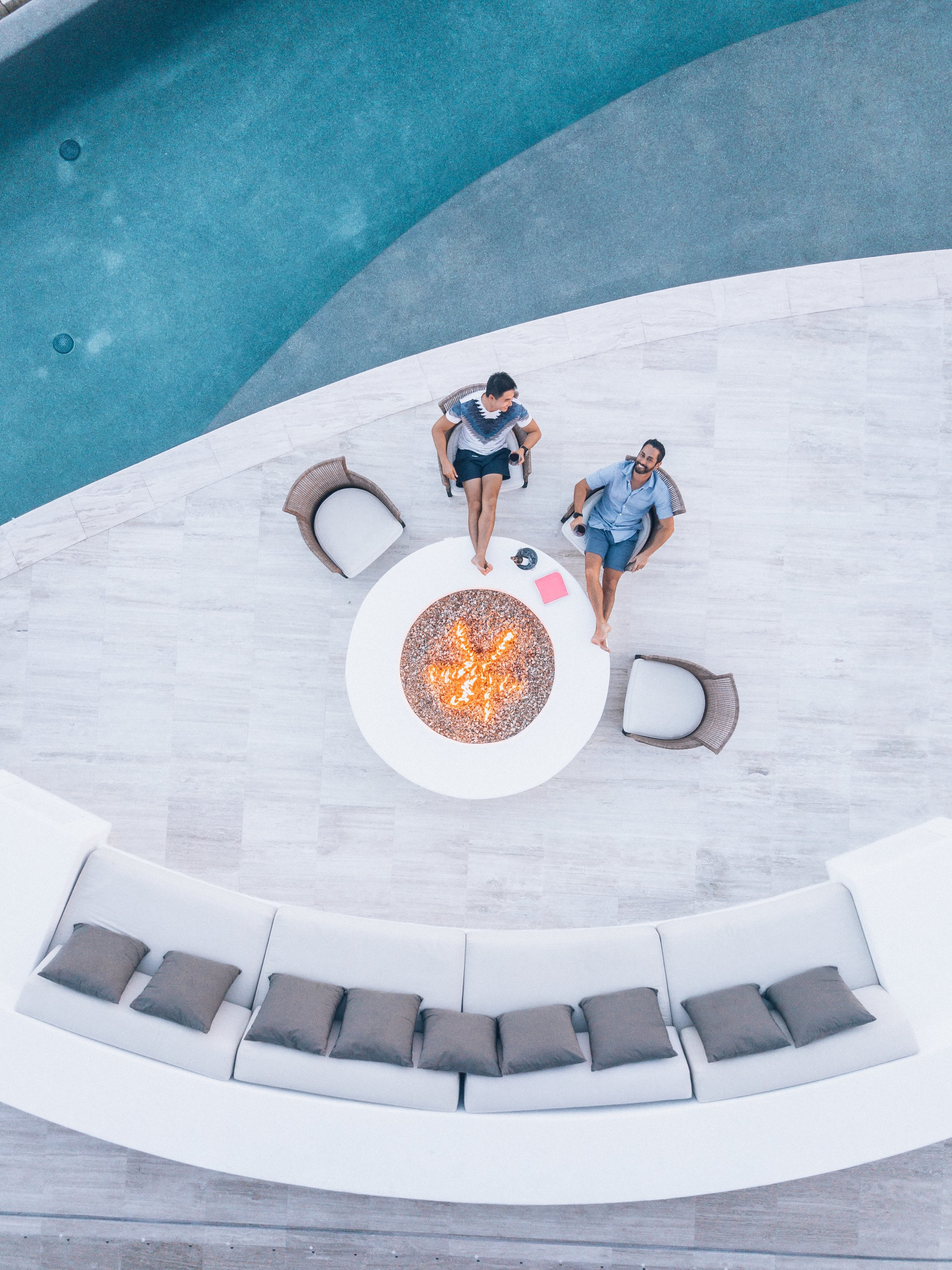The fire pit is the perfect place for a glass of wine and to watch the sunset.