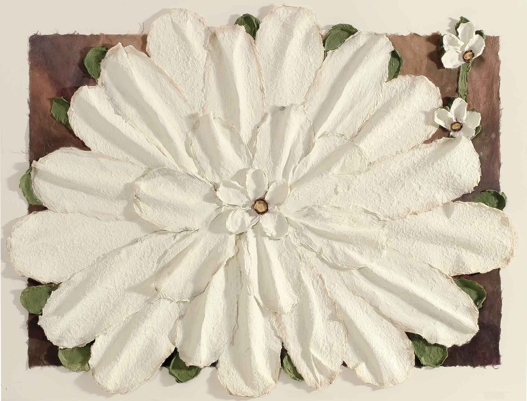 Large White Casted Flower 30x40
