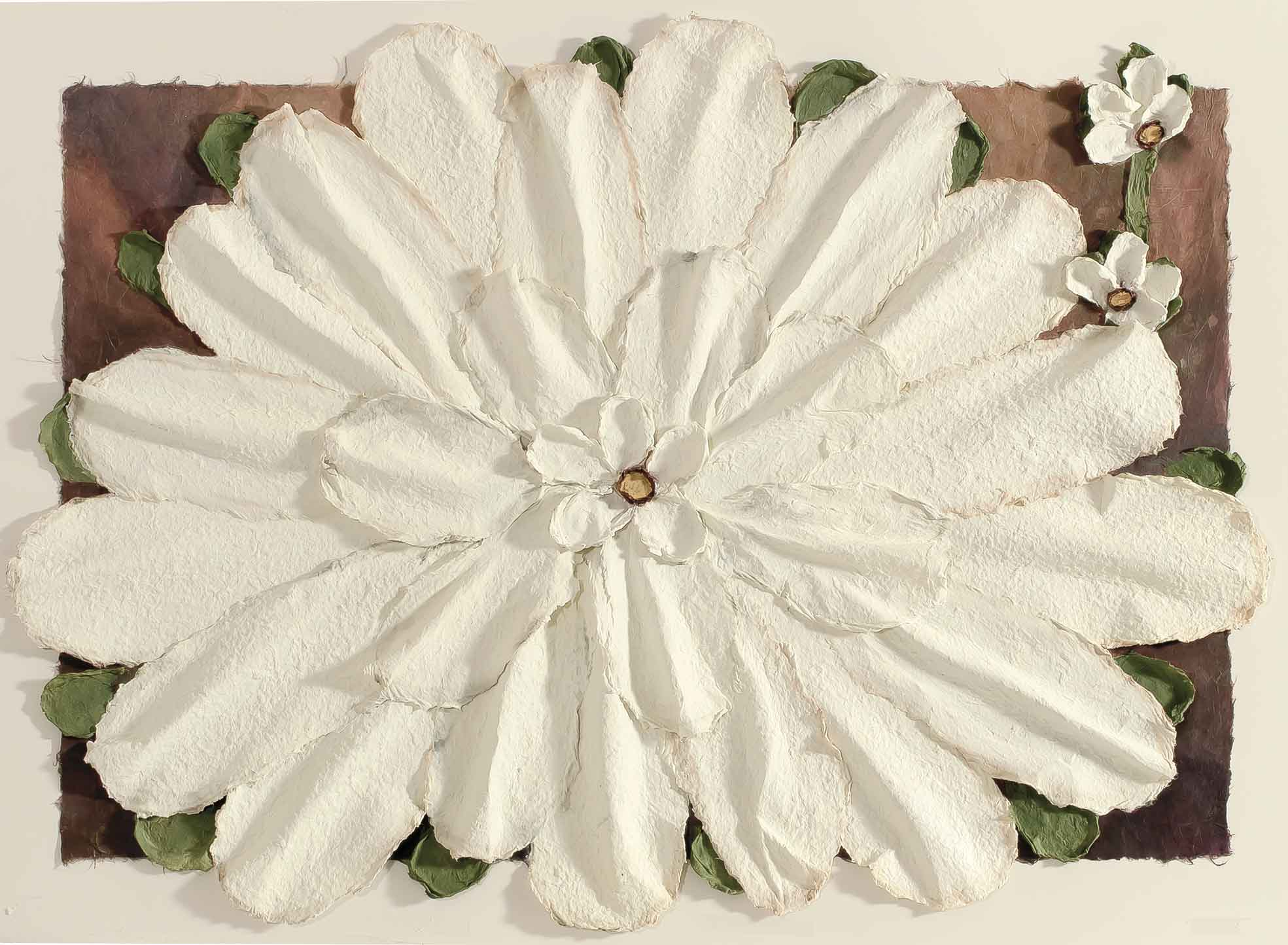 Large White Casted Flower 11x14