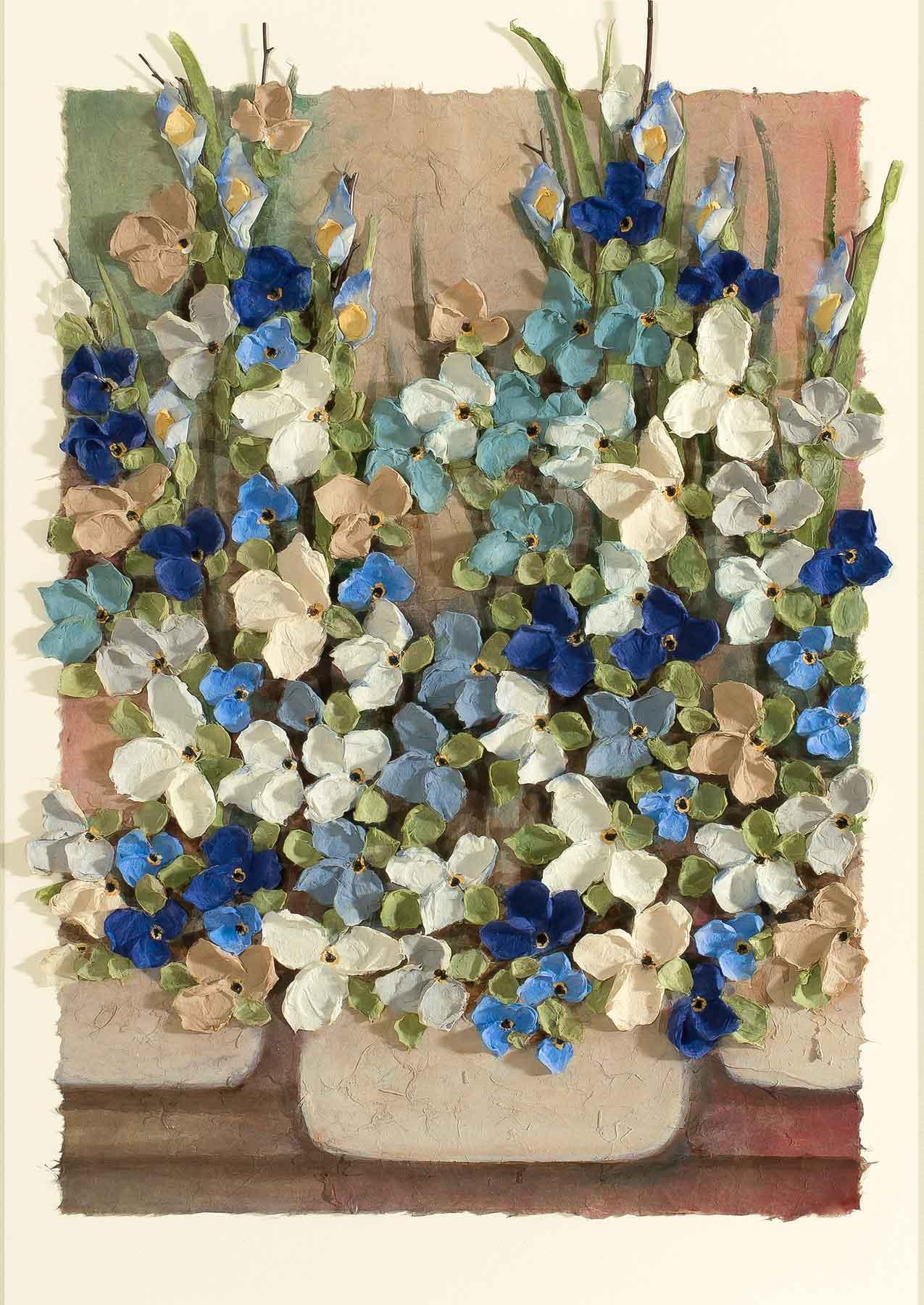 Copy of Mist Floral Pot Blue 12x22