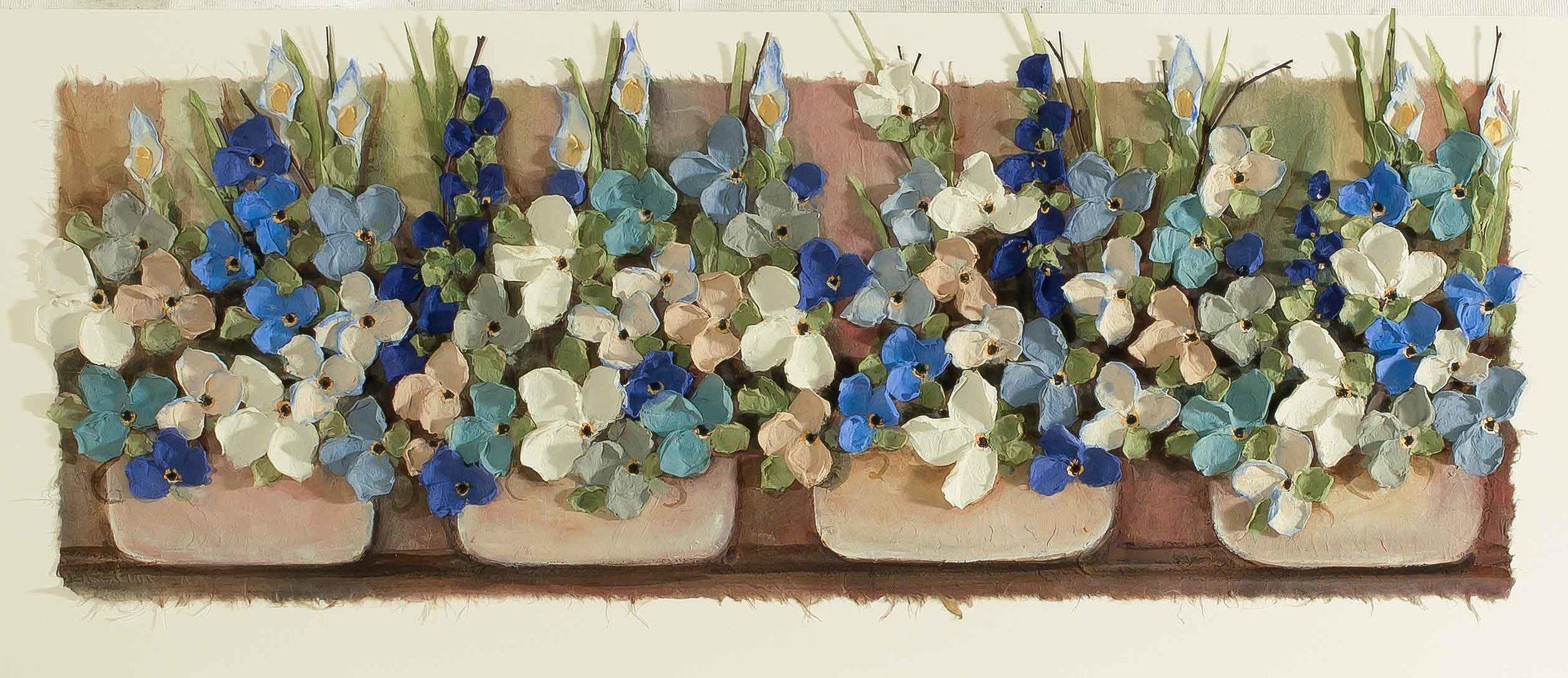 Copy of Mist Floral Blue Pot 16x36