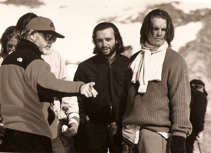 On the set of  Alive with director Frank Marshall and actor Ethan Hawke.