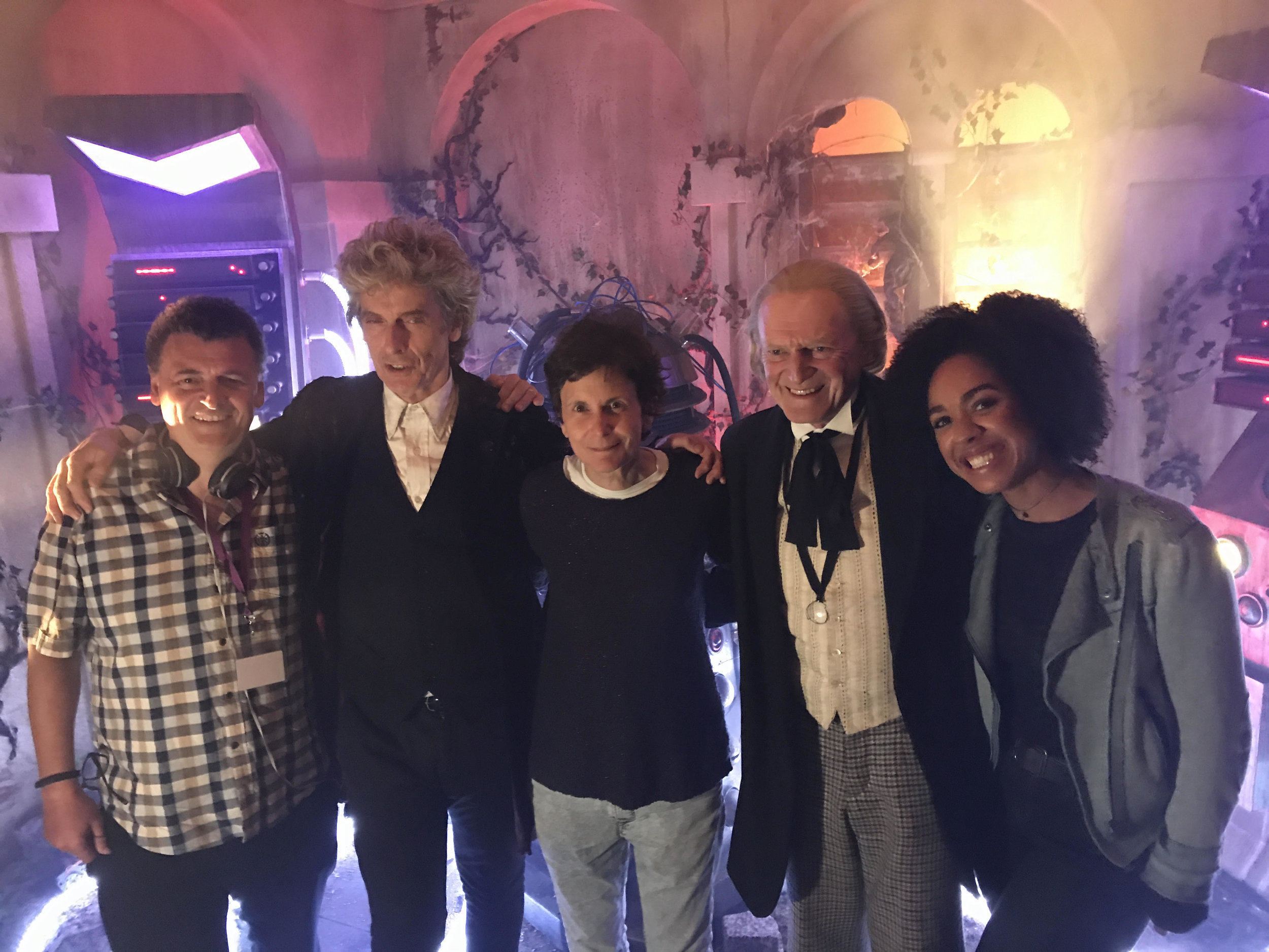 """Steven Moffat, Peter Capaldi, Rachel Talalay, David Bradley, and Pearl Mackie on the set of """"Twice Upon a Time.""""Photo courtesy of Rachel Talalay"""