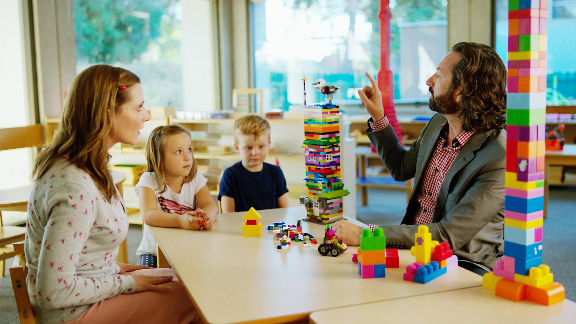 David Milchard (right) portrays Corporate CEO in  Preschool Inc.
