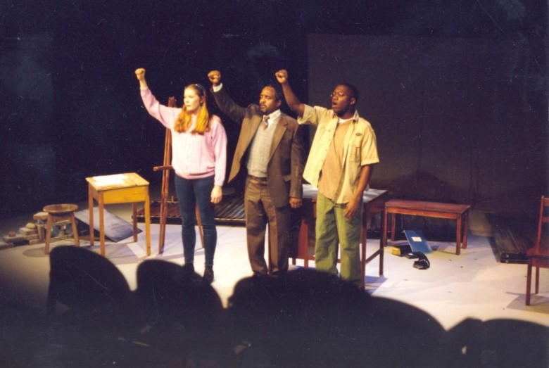 Omari Newton (far right) and fellow actors in Black Theatre Workshop's 1999-2000 production of My  Children! My Africa!