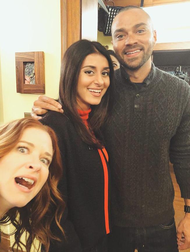 Sandy Sidhu and Jesse Williams on the set of  Grey's Anatomy . Photo courtesy of Sandy Sidhu