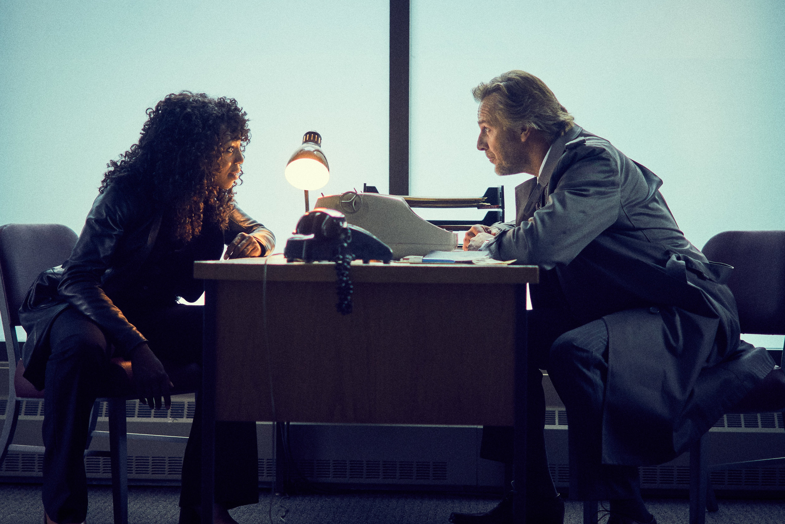 Enuka Okuma as KC Williams and Mike Dopud as Ward Avery on CBC's  Caught .
