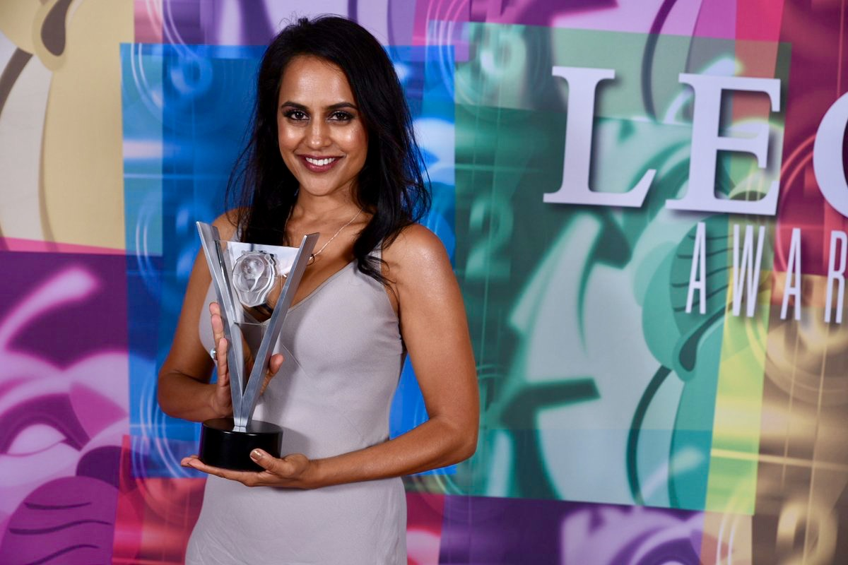 Agam Darshi won Best Guest Performance by a Female in a Dramatic Series for portraying Wakti Wapnasi in  Dirk Gently's Holistic Detective Agency .Photo courtesy of the Leo Awards