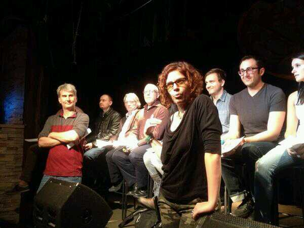 Lori Triolo speaks to the crowd at a recent Cold Reading Series.
