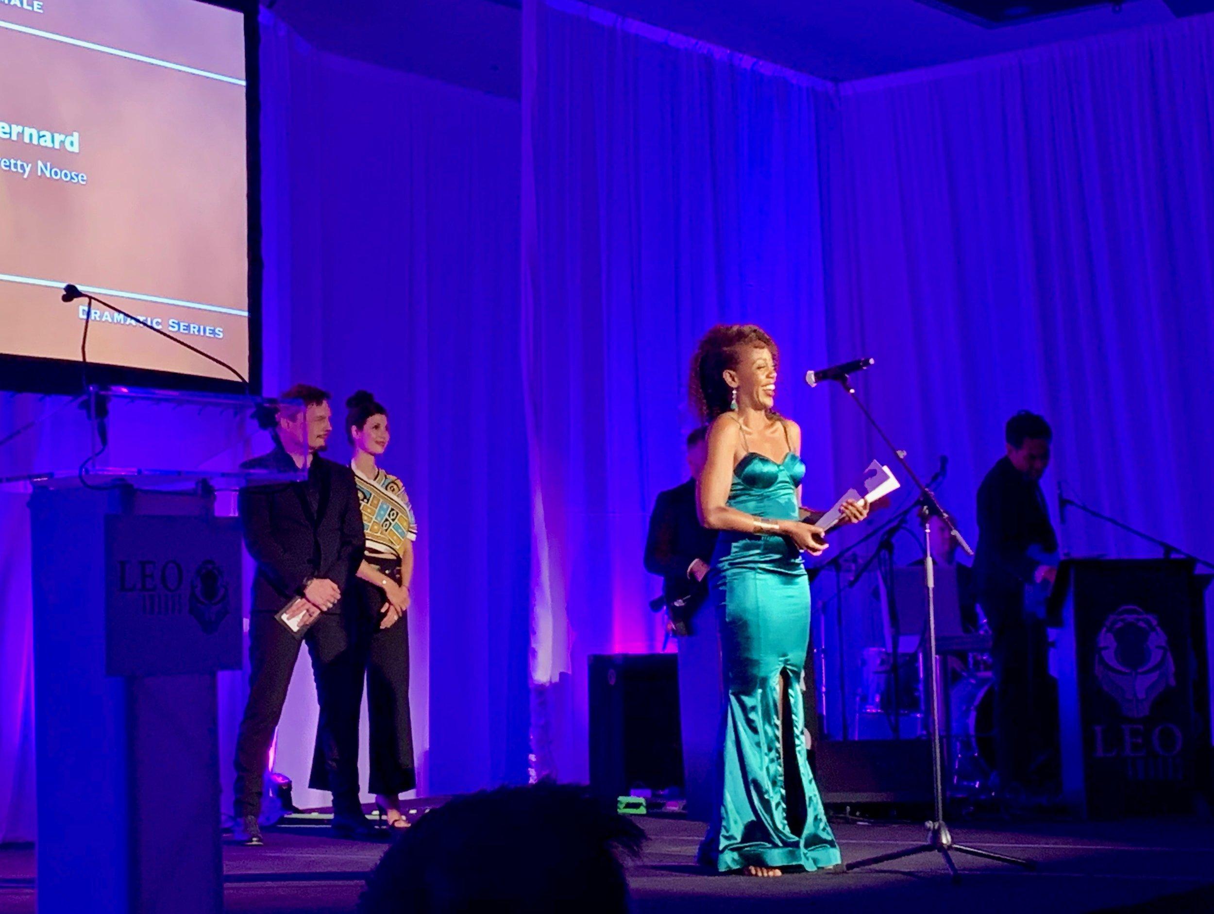 Rukiya Bernard accepts her Leo Award. Photo by Sabrina Furminger