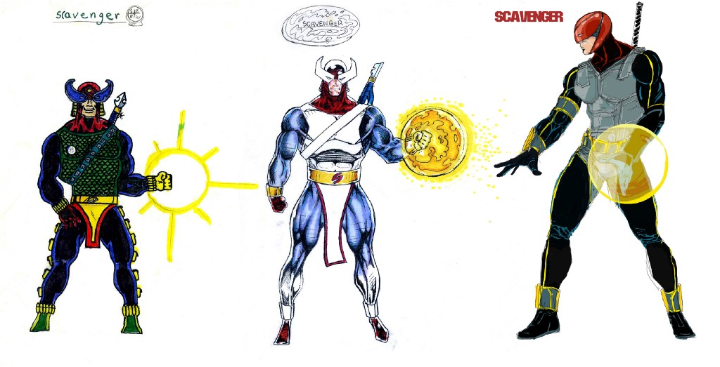 Character sketch by Eddie Peña. Drawn at age 14 (left), drawn at age 17 (center), drawn at age 35 (right).