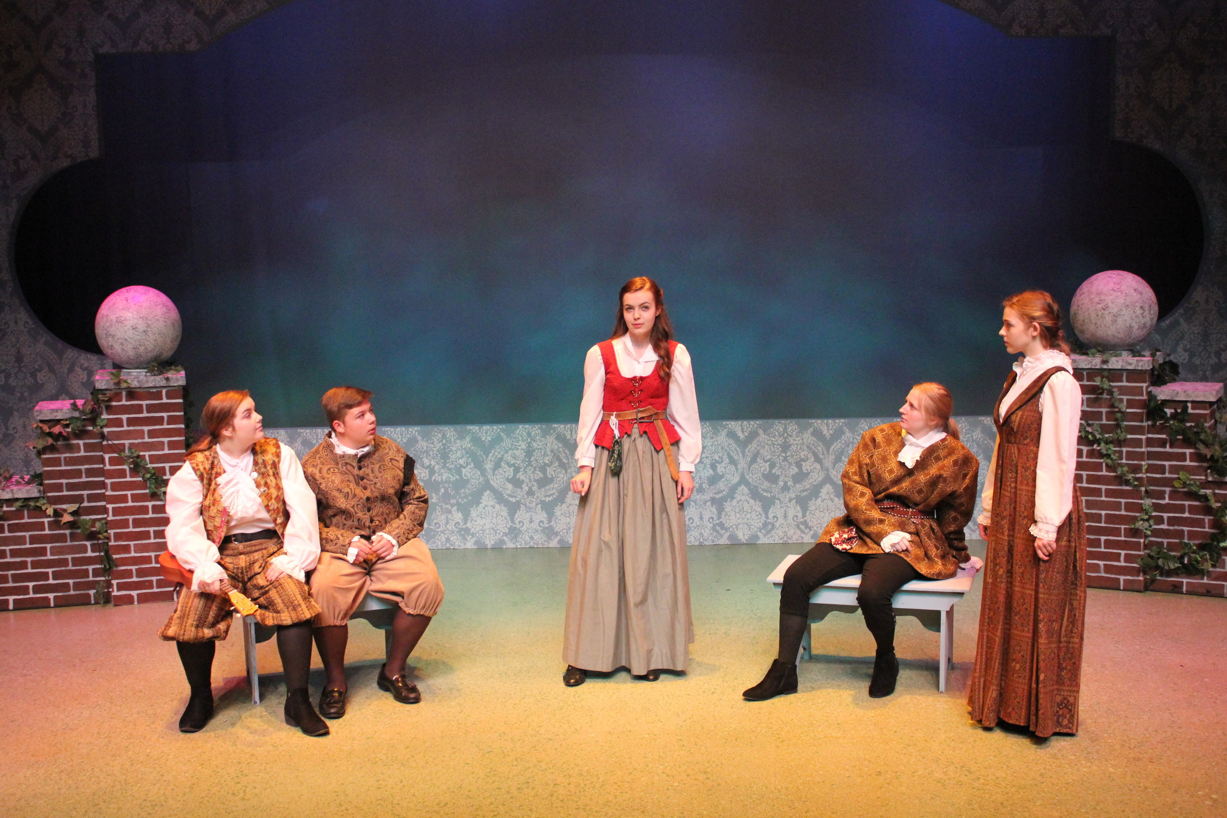 Sarah Stacy, Ryan Vaughan, Lillie King, Charleigh Carter and Sarah Jones in the 2017 GVTeen Conservatory production of  Twelfth Night . (Photo Courtesy / Greenbrier Valley Theatre)