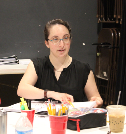 Stage Manager Elizabeth Salisch* at the table reading of  Moon Over Buffalo . Photo by Kelsey Pressnall / Courtesy of Greenbrier Valley Theatre. *denotes member of Actors' Equity Association.