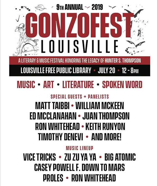 GonzoFest Louisville returns to @louisvillefreepubliclibrary ✨this Saturday✨ noon-8PM! Music, panel discussions, spoken word, art and more!